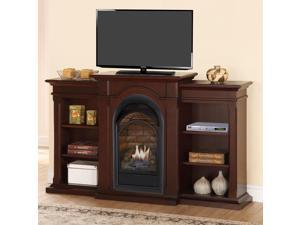 Duluth Forge Dual Fuel Vent Free Fireplace With Bookshelves - 15,000 BTU, T-Stat, Chocolate Finish