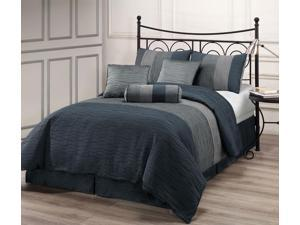 Zadooth KING Size 7 Piece Comforter Set Slate Blue, Charcoal Grey, Silver Stripe Bedding, Metallic Color Fused Pleating Stripes Bed Cover