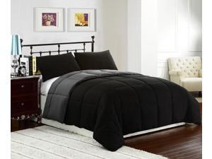 Black #47;Grey TWIN Size 2-Piece Reversible Down Alternative Comforter Set by Cozy Beddings