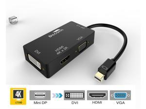 3in 1 1.2V Mini DP Thunderbolt to HDMI & VGA & DVI HDTV Cable Converter 4K*2K