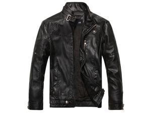 PU Leather Jacket Collar Round Winter Warm Clothing Long Sleeves US SIZE