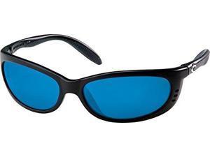 Costa Del Mar Fathom Sunglasses - Black Frame - Blue Mirror Glass Lens
