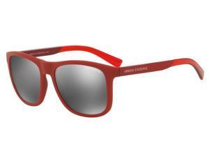 Exchange Armani 0AX4049S Sun Full Rim Square Mens Sunglasses - Size - 57 (Matte Red / Grey Mirror Silver)