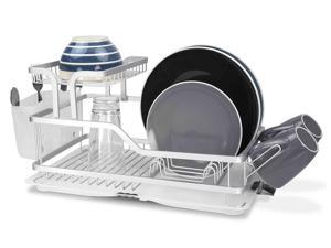 Home Basics Rust-Proof Aluminum 2-Tier Dish Rack, 20.5x12x9.75 Inches