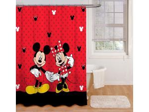 Disney Mickey and Minnie Fabric Shower Curtain, Red, 70x72