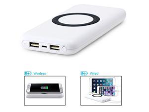 Wireless Charger Power Bank,MOPO 12000mAh Qi Portable Charger Qi Wireless Charging Pad for Samsung Galaxy S7 / S6 / Note 7/5, Nokia Lumia 950 XL/920 LG Optimus Vu2 HTC 8X with 2 USB Outport -White
