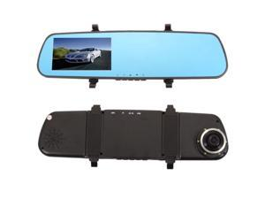 4.3 1080P Slim Rear-view Mirror 120-Degree Wide-angle Lens Car DVR Recorder with G-sensor GPS Motion Detection Blue