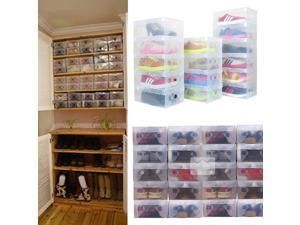 20pcs Transparent Shoe Storage Boxes Stackable Foldable Container Organizer