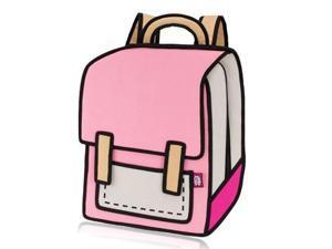 Creative 3D Stereoscopic Cartoon Nylon Backpack Schoolbag Pink