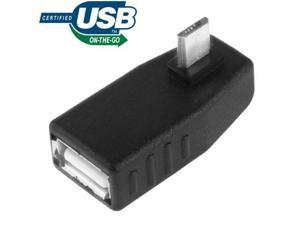 Micro USB Male to USB 2.0 AF Adapter with 90 Degree Angle, Support OTG Function