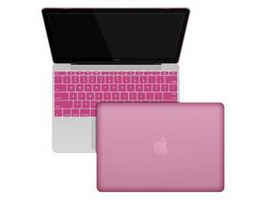 """The New Macbook Case, 12"""" inch with Retina Display Laptop Computer Hard Shell Protective Case, Smooth Matte Finish Rubberized Case Silicone gel Keyboard cover LIGHT PINK"""