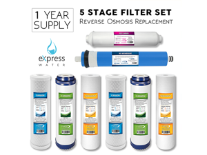1-Year 5-Stage Reverse Osmosis Replacement Filter Kit 8 total filters w/ 50 GPD Membrane