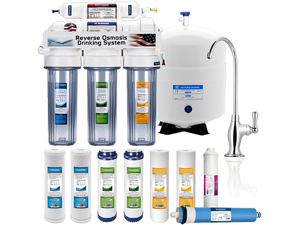 5 Stage Home Drinking Reverse Osmosis System PLUS Extra Full Set- 4 Water Filter (CLEAR)
