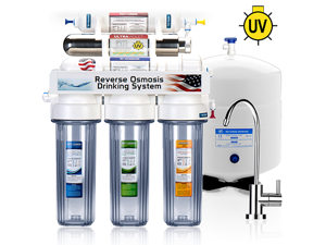 6 Stage UV Ultra-Violet Sterilizer Reverse Osmosis Home Drinking Water Filtration System - MODERN faucet - clear housing