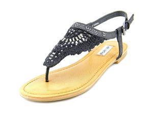 Not Rated Crochet Me Down  Women US 10 Black Thong Sandal