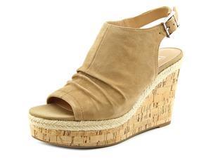 Franco Sarto Trellis Women US 10 Tan Peep Toe Wedge Heel