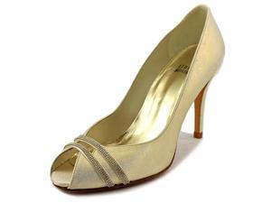 Stuart Weitzman Glo Hot Women US 7 Gold Peep Toe Heels