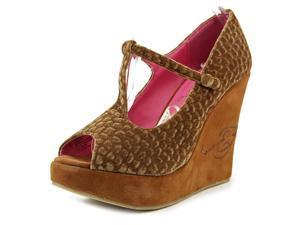 Ed Hardy Marion Women US 7 Brown Peep Toe Wedge Heel