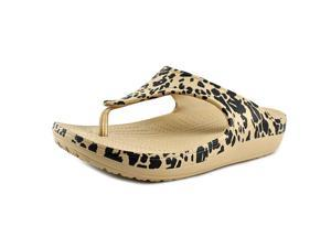 Crocs Sloane Leopard Women US 6 Tan Thong Sandal