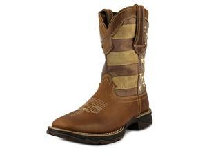 Durango Western Boot Women Faded USA Flag Square 7.5 M Brown DRD0107