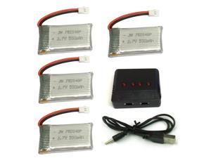 4PCS Syma X5SW X5C X5C-1 500mAh 3.7V Lipo Battery with 4 in 1 Charger For Drone