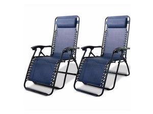 Zero Gravity Recliner Lounge Chairs Case of (2) Patio Chairs Outdoor Pool Lawn Yard Beach