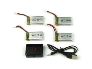 3.7V 650mAh Lipo Battery (4PCS) with 4 in 1 Charger For Syma X5C-1 X5SW Drone