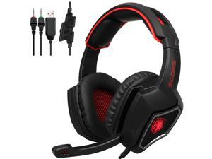 SADES Spirit Wolf 3.5mm Wired Stereo Gaming Headset W/ MIC For PC Gamers Red