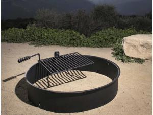 "36"" Steel Fire Ring with Cooking Grate Campfire Pit Park Grill BBQ Camping Trail"
