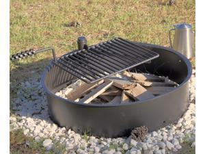 "32"" Steel Fire Ring with Cooking Grate Campfire Pit Park Grill BBQ Camping Trail"