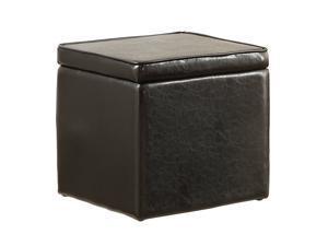 Faux Leather Storage Ottoman By Poundex - Black