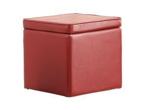 Faux Leather Storage Ottoman By Poundex - Red