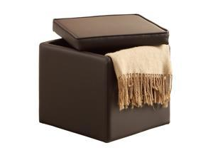 Faux Leather Storage Ottoman By Poundex - Brown
