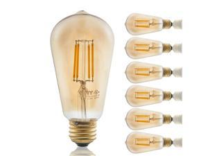 6 PACK 3.5W ST19 Edison Vintage Style Dimmable LED Filament Light Bulb 2700K Warm White