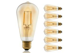 6 PACK 2W ST19 Edison Vintage Style Dimmable LED Filament Light Bulb 2200K Warm White