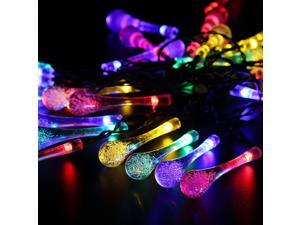 Solar Outdoor String Lights, 20ft 30 LED Water Drop Solar String Fairy Waterproof Lights Christmas Lights Solar Powered String lights for Garden, Patio, Yard, Home, Christmas Tree, Parties