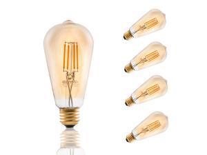 4PACK Antique LED Bulb, 3.5W ST21 Vintage Edison Dimmable Amber Light Bulb Lighting Warm White 2200K