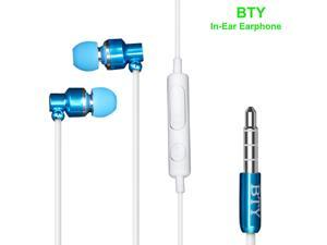 BTY Earphones Magnet Attraction In-Ear Earbuds Heaphones headset with Mic Microphone Stereo Bass with 3.5mm Jack ( Blue )