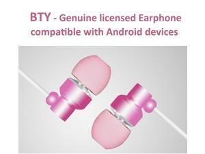 BTY Earphones Magnet Attraction In-Ear Earbuds Heaphones headset with Mic Microphone Stereo Bass with 3.5mm Jack ( Pink )