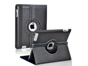 Fullbell Apple iPad 2/3/4 Case - 360 Degree Rotating Stand Smart Case Cover for iPad with Retina Display (iPad 4th Generation), the new iPad 3 & iPad 2 (Automatic Wake/Sleep Feature) - Black