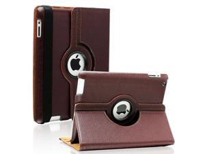 Fullbell Apple iPad 2/3/4 Case - 360 Degree Rotating Stand Smart Case Cover for iPad with Retina Display (iPad 4th Generation), the new iPad 3 & iPad 2 (Automatic Wake/Sleep Feature) - Brown