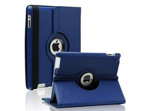 Fullbell Apple iPad 2/3/4 Case - 360 Degree Rotating Stand Smart Case Cover for iPad with Retina Display (iPad 4th Generation), the new iPad 3 & iPad 2 (Automatic Wake/Sleep Feature) - Dark Blue