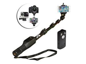 "JTD ® Professional Telescopic Aluminum Alloy Pole Extendable to 49"" Self Portrait Selfie Stick Pole Monopod with Phone Clamp Bluetooth Remote Controller Universal Mount for GoPro Phone Camara"