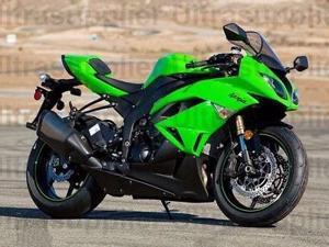 Green w/ Matte Black Fairing Injection for 2009-2012 Kawasaki Ninja ZX6R