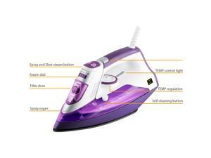 ZZ ES391-P 1500 Watt Steam Iron with Stainless Steel Soleplate and Detachable Water Tank - Purple