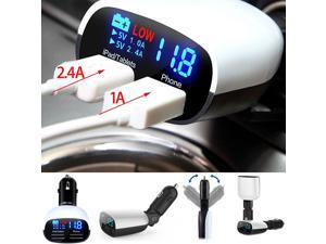 Universal 5V 2.4A+1A Dual USB Car Charger Adapter LED Monitor Display For iPhone 6 6S plus iphone 5s Ipad Samsung Tablet Car-Charger