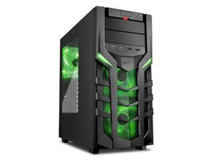 "SHARKOON DG7000 Green Steel / Plastic ATX Mid Tower Gaming PC Case, 3x140mm LED Cooling Fan Pre-Installed, Support up to 280mm Water Cooling Radiator Installation at Top & Max: 14.96"" VGA Length"