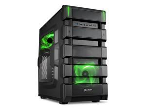 "SHARKOON BD28 Green Steel / Plastic ATX Mid Tower Gaming PC Case, 2x120mm LED Cooling Fan Pre-Installed, 2xUSB3.0+2xUSB2.0, Max: 16.34"" VGA Length, Max: 7.05"" CPU Cooler Height"