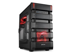 "SHARKOON BD28 Red Steel / Plastic ATX Mid Tower Gaming PC Case, 2x120mm LED Cooling Fan Pre-Installed, 2xUSB3.0+2xUSB2.0, Max: 16.34"" VGA Length, Max: 7.05"" CPU Cooler Height"