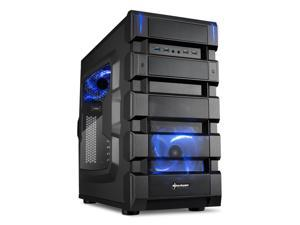 "SHARKOON BD28 Blue Steel / Plastic ATX Mid Tower Gaming PC Case, 2x120mm LED Cooling Fan Pre-Installed, 2xUSB3.0+2xUSB2.0, Max: 16.34"" VGA Length, Max: 7.05"" CPU Cooler Height"